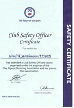 Club Safety Officer Certificate